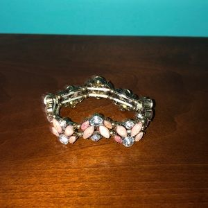 Pale pink and silver bracelet